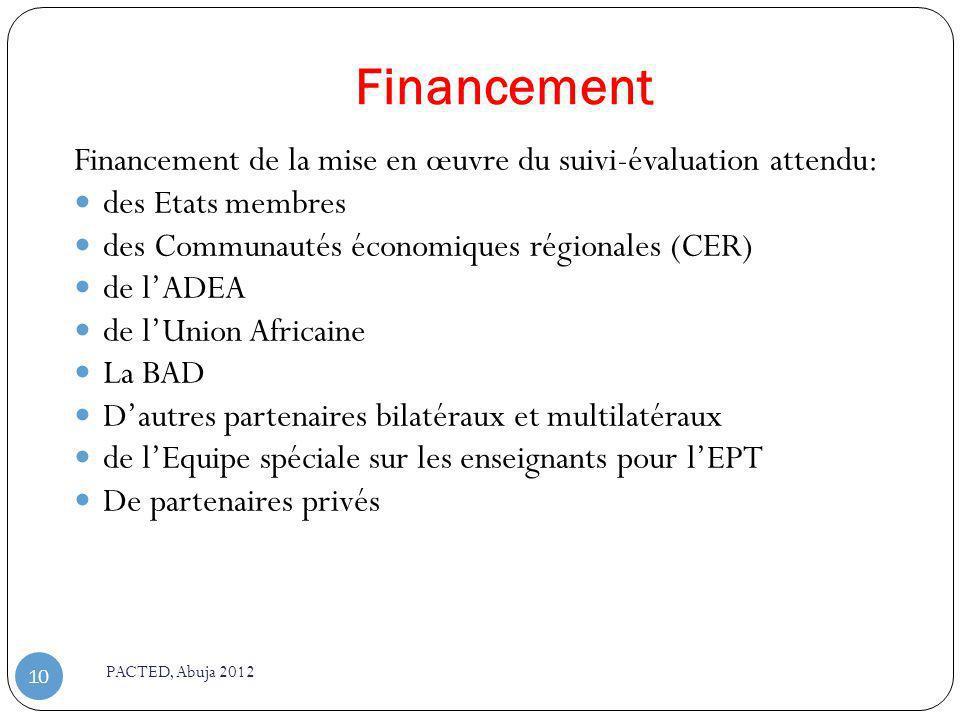 Financement Financement de la mise en œuvre du suivi-évaluation attendu: des Etats membres. des Communautés économiques régionales (CER)