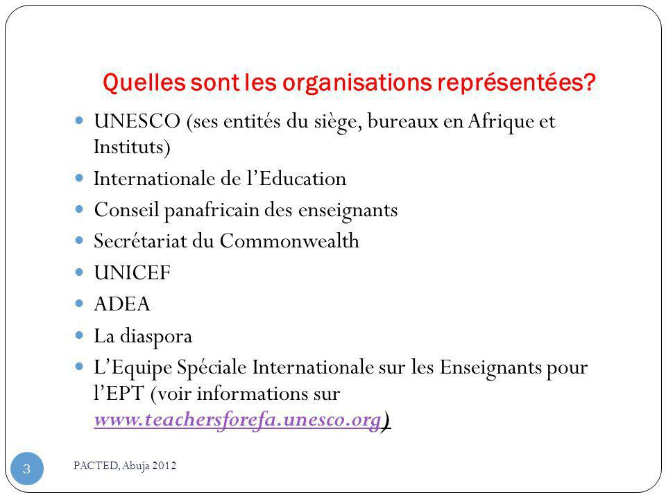 Quelles sont les organisations représentées