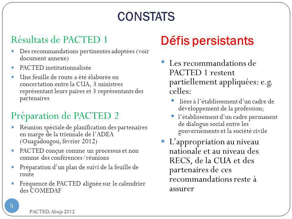 CONSTATS Défis persistants Résultats de PACTED 1