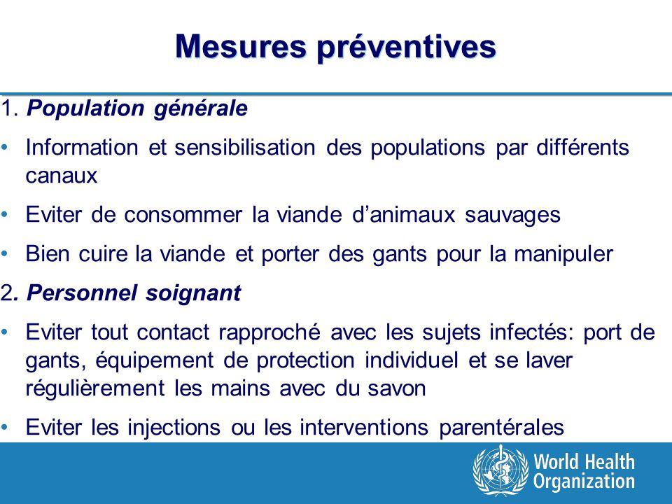 Mesures préventives 1. Population générale