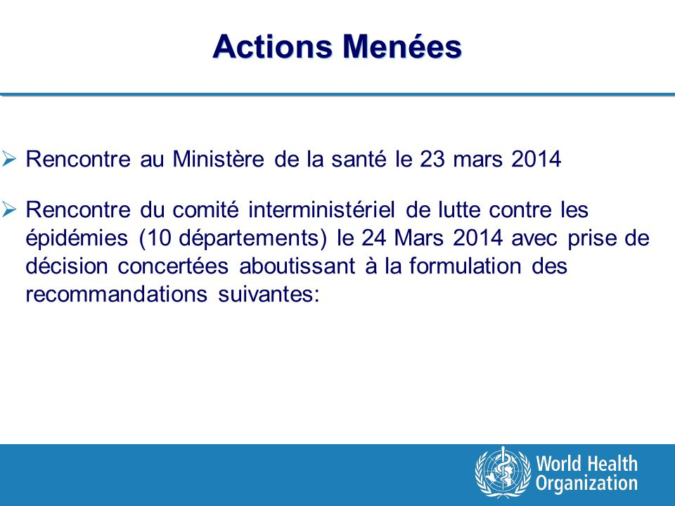 Actions Menées Rencontre au Ministère de la santé le 23 mars 2014