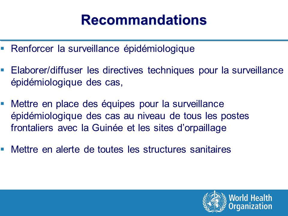 Recommandations Renforcer la surveillance épidémiologique