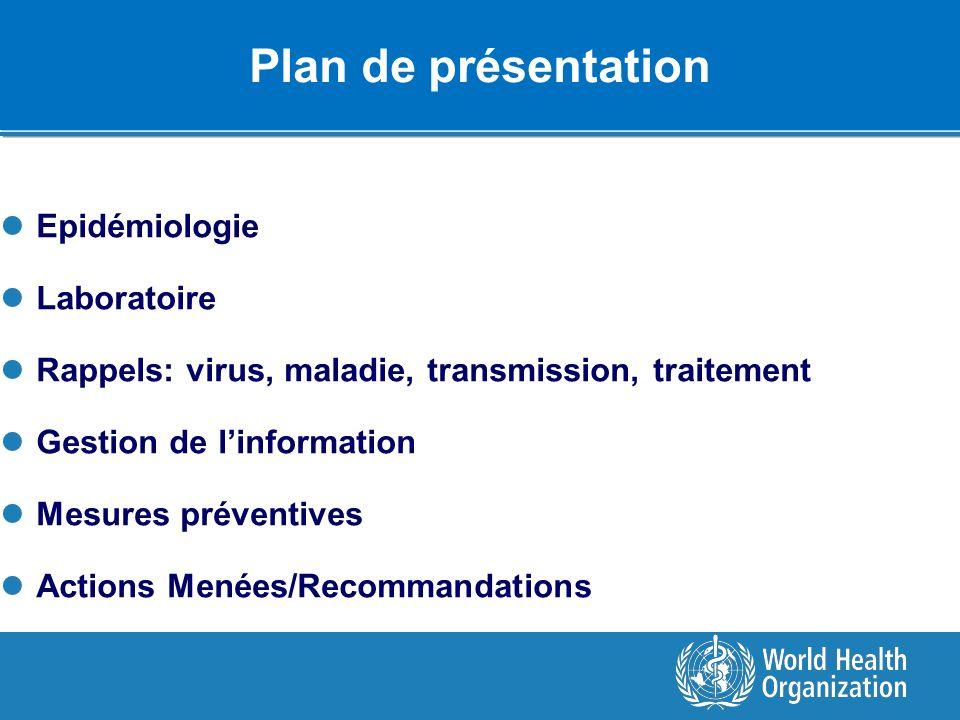 Plan de présentation Epidémiologie Laboratoire