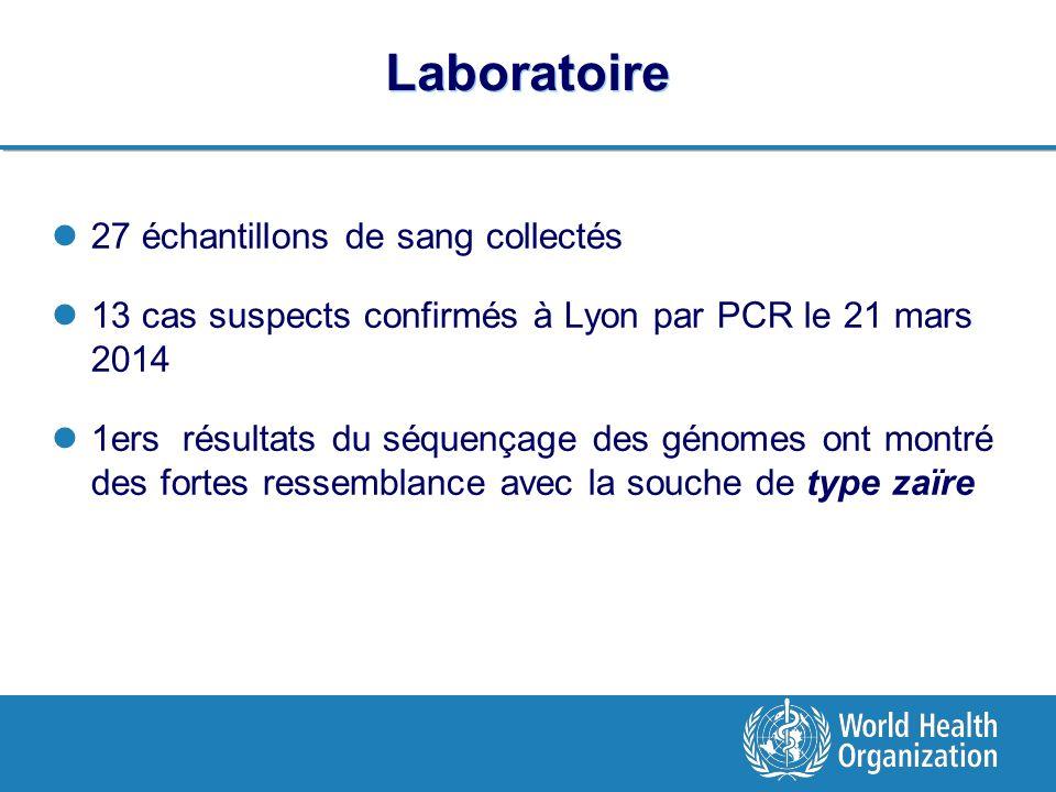 Laboratoire 27 échantillons de sang collectés
