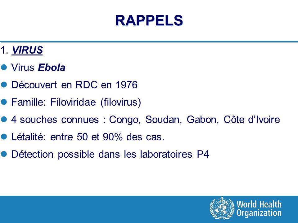 RAPPELS 1. VIRUS Virus Ebola Découvert en RDC en 1976