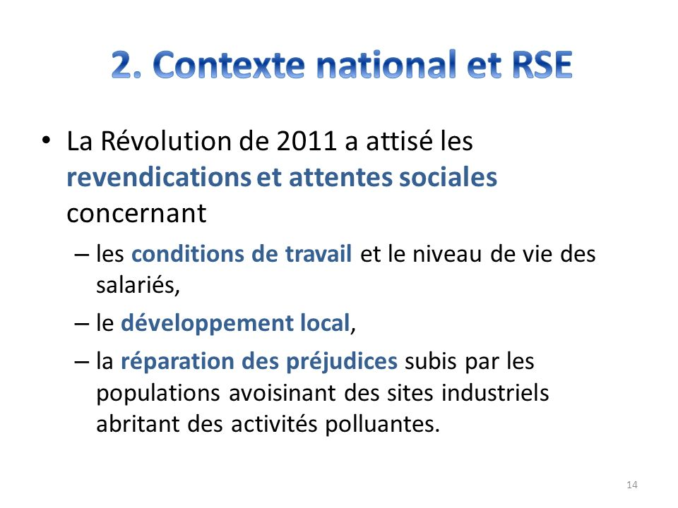 2. Contexte national et RSE