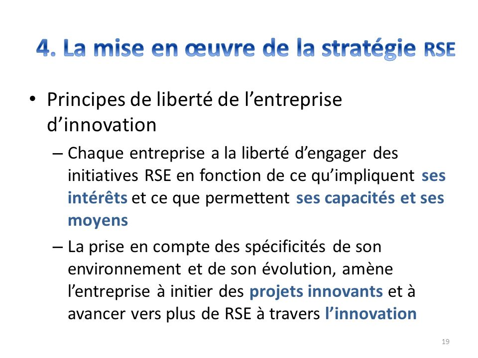 4. La mise en œuvre de la stratégie RSE