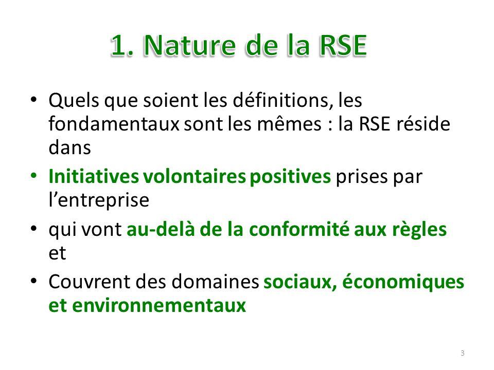 1. Nature de la RSE Quels que soient les définitions, les fondamentaux sont les mêmes : la RSE réside dans.