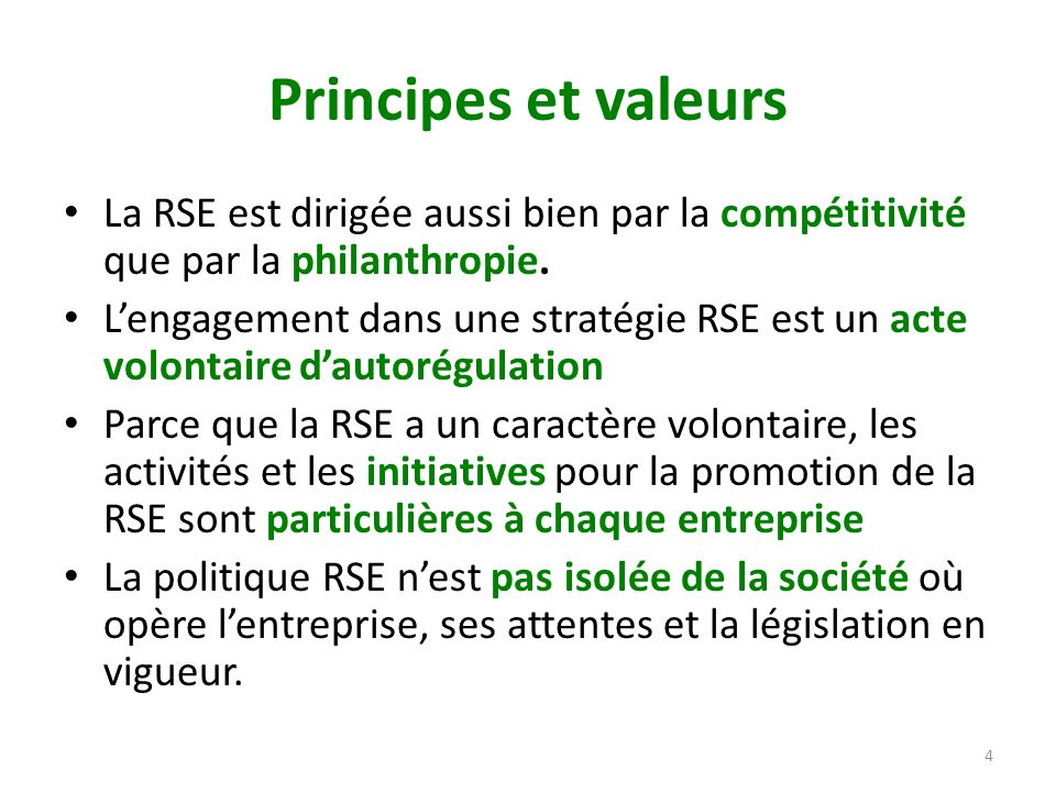 Principes et valeurs La RSE est dirigée aussi bien par la compétitivité que par la philanthropie.