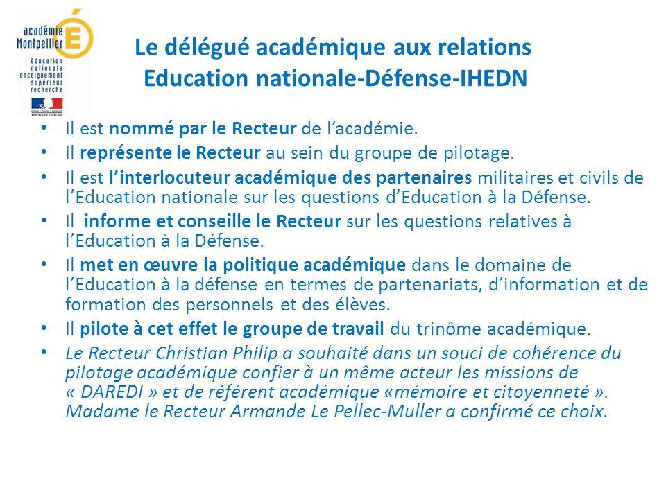 Le délégué académique aux relations Education nationale-Défense-IHEDN
