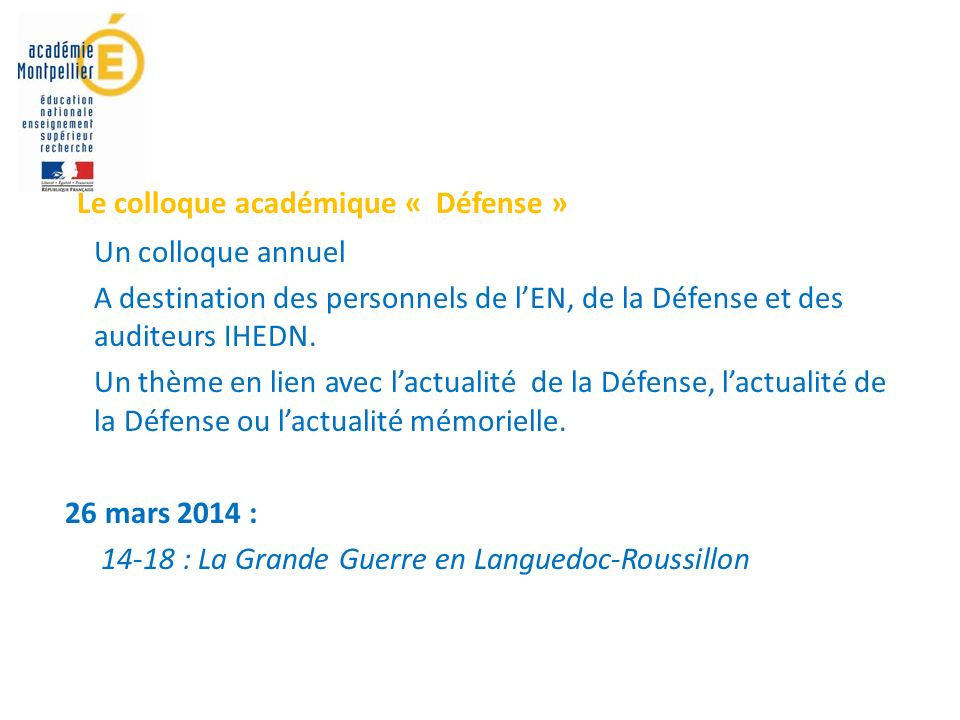 Le colloque académique « Défense »