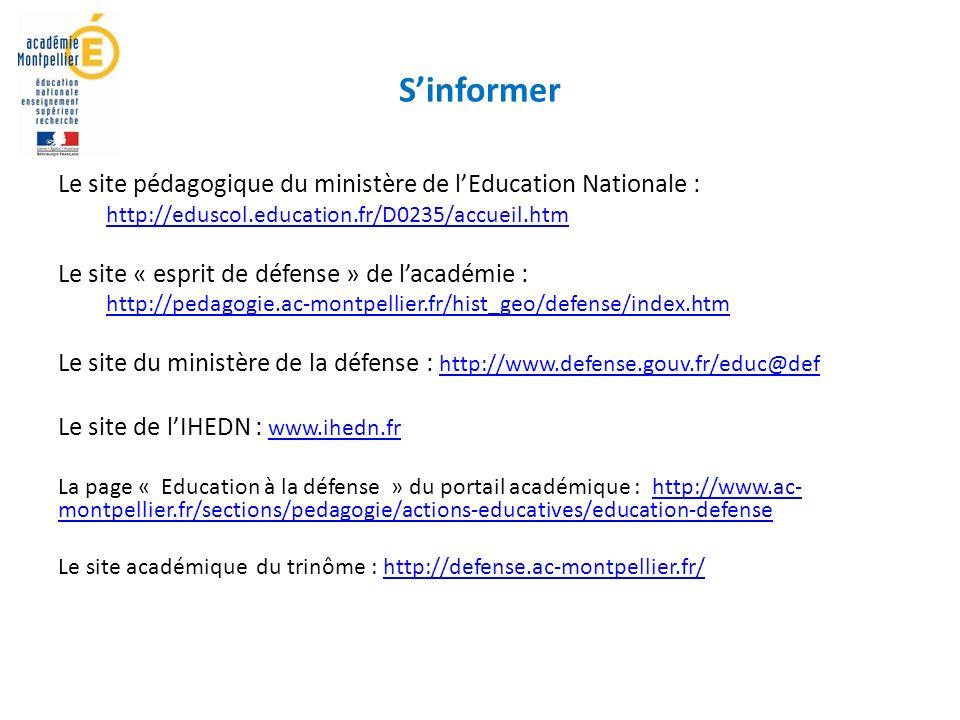 S'informer Le site pédagogique du ministère de l'Education Nationale :