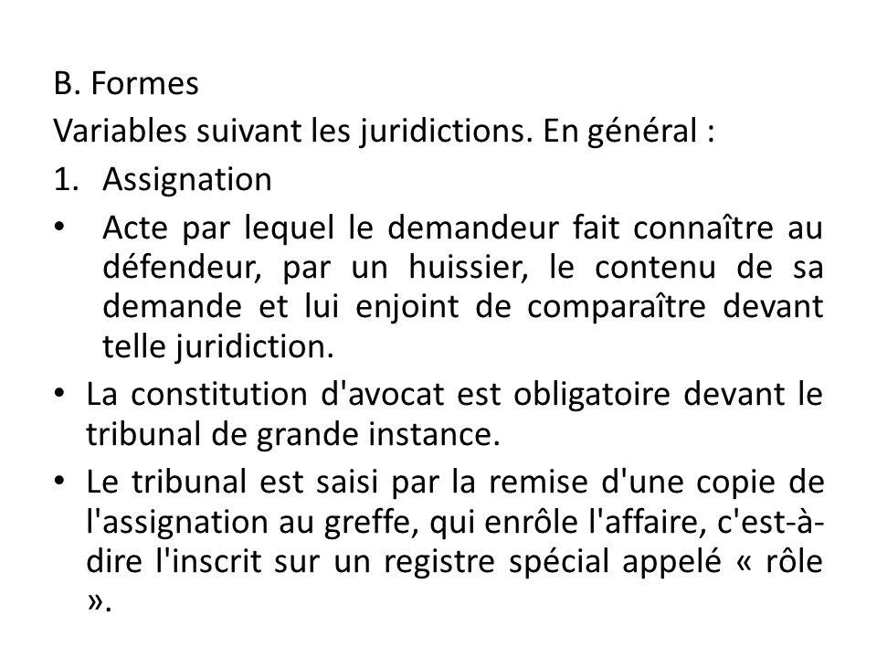B. Formes Variables suivant les juridictions. En général : Assignation.