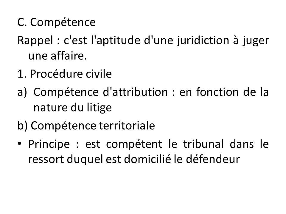 C. Compétence Rappel : c est l aptitude d une juridiction à juger une affaire. 1. Procédure civile.