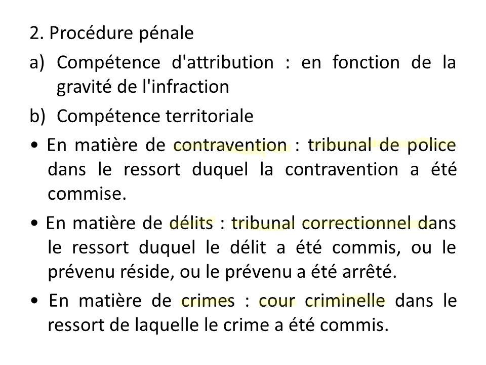 2. Procédure pénale Compétence d attribution : en fonction de la gravité de l infraction. Compétence territoriale.