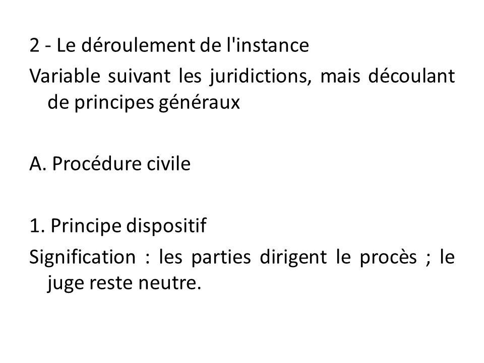 2 - Le déroulement de l instance Variable suivant les juridictions, mais découlant de principes généraux A.