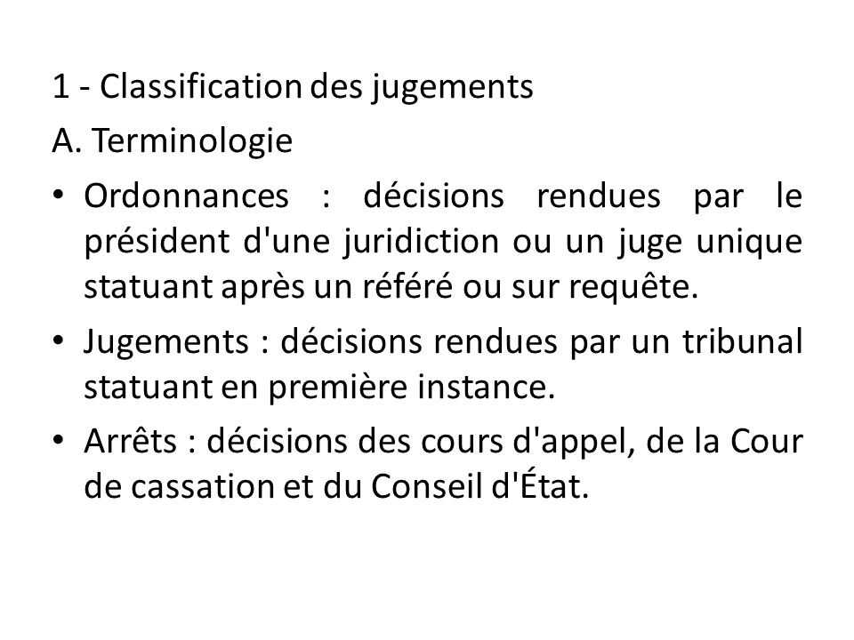 1 - Classification des jugements