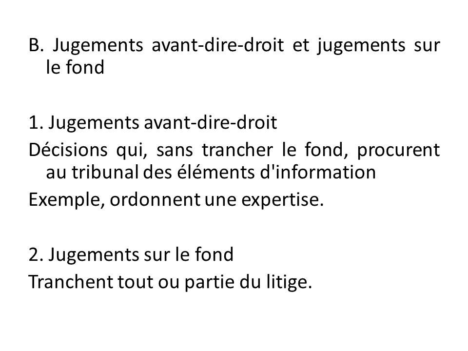 B. Jugements avant-dire-droit et jugements sur le fond