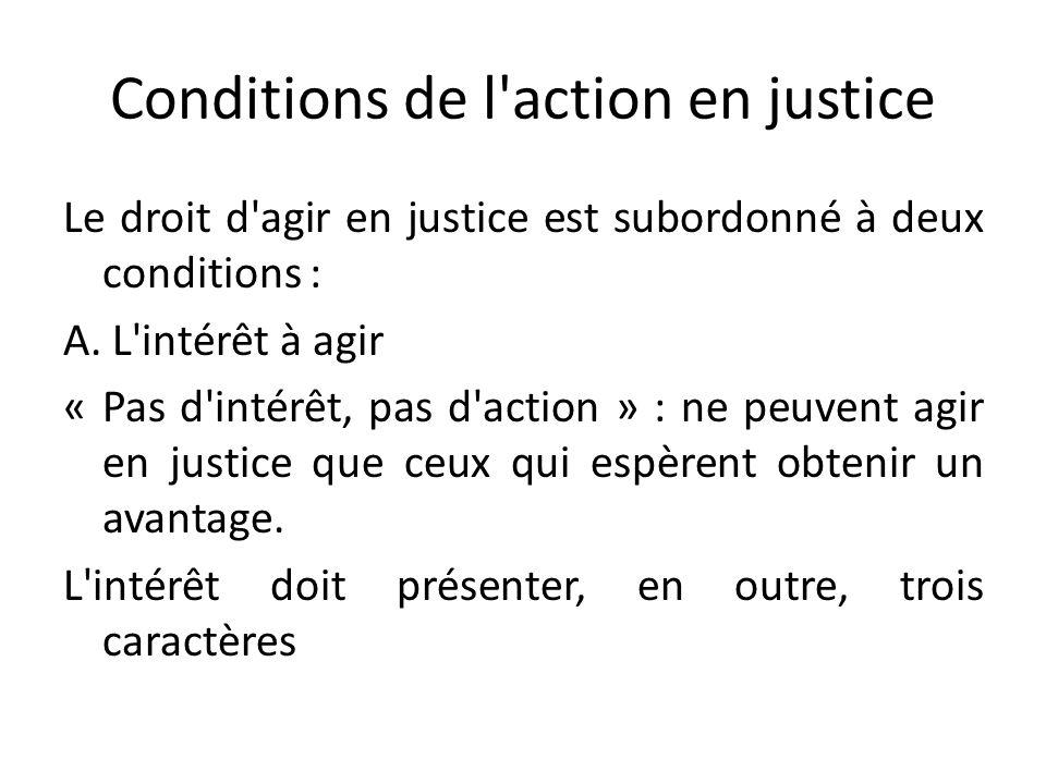 Conditions de l action en justice