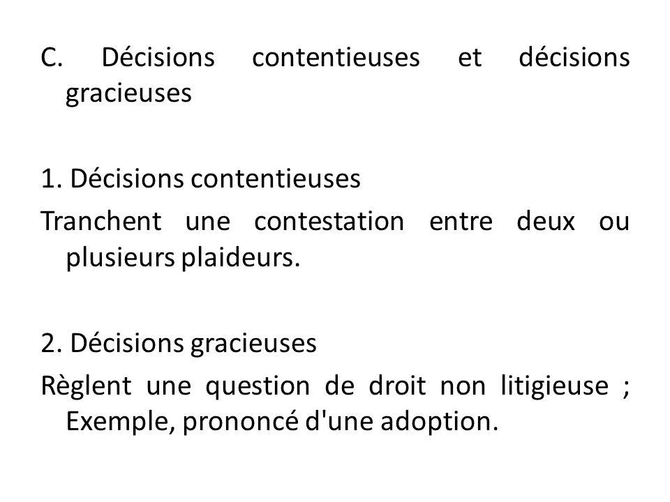 C. Décisions contentieuses et décisions gracieuses 1