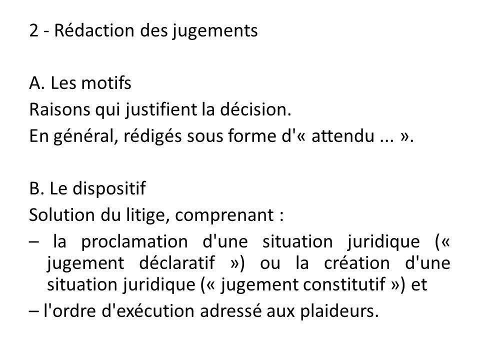 2 - Rédaction des jugements A