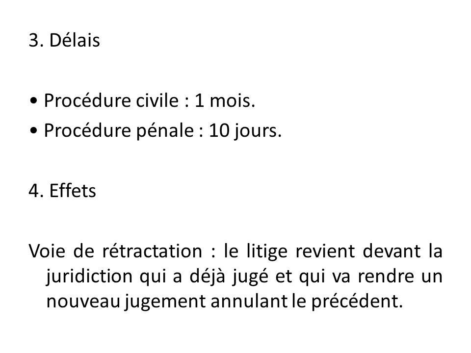 3. Délais • Procédure civile : 1 mois. • Procédure pénale : 10 jours.