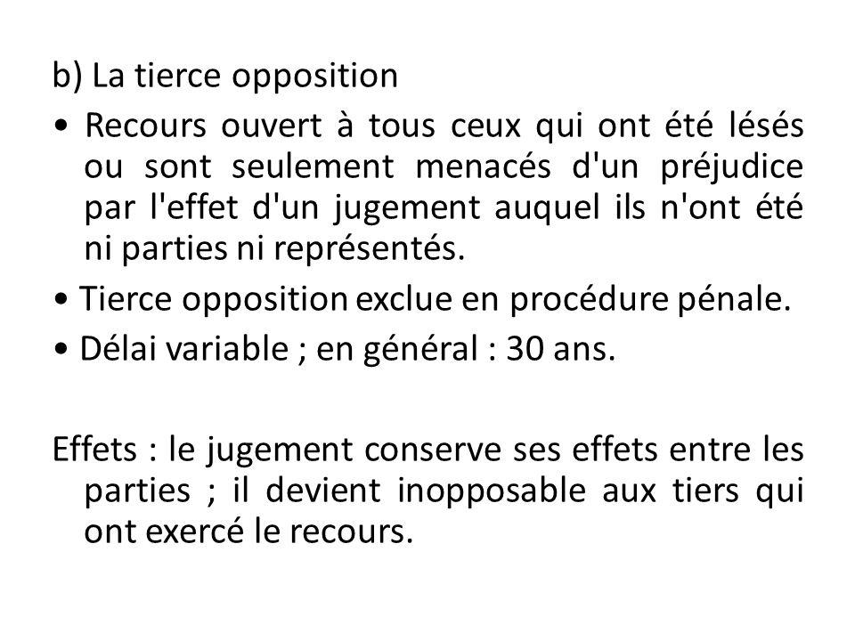 b) La tierce opposition • Recours ouvert à tous ceux qui ont été lésés ou sont seulement menacés d un préjudice par l effet d un jugement auquel ils n ont été ni parties ni représentés.