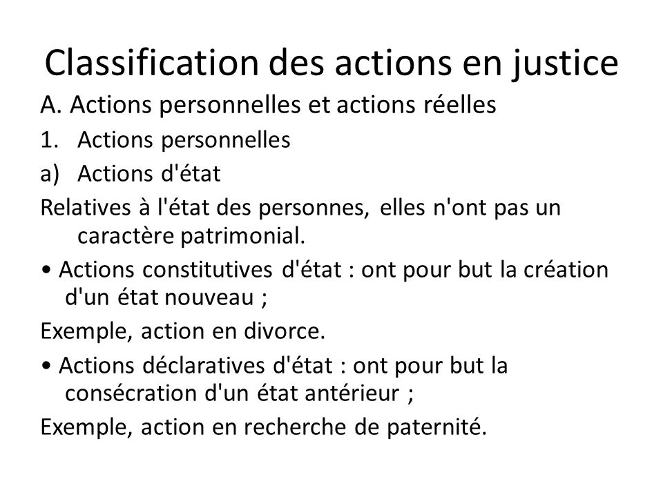 Classification des actions en justice