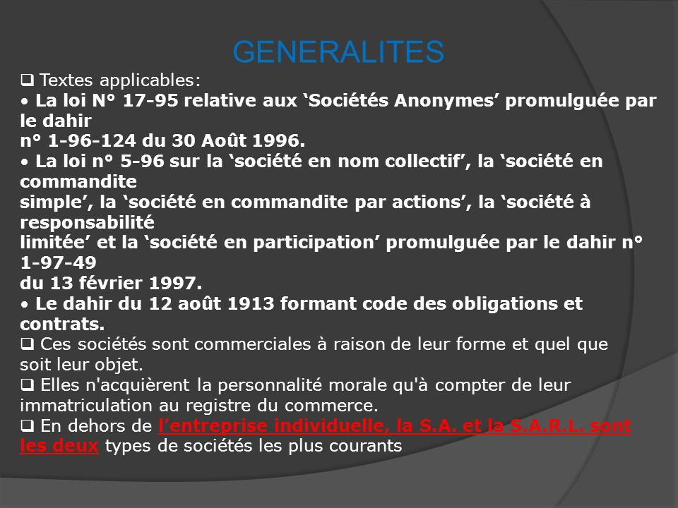 GENERALITES Textes applicables: