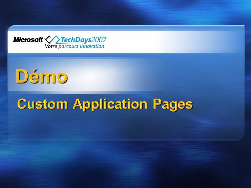 Custom Application Pages