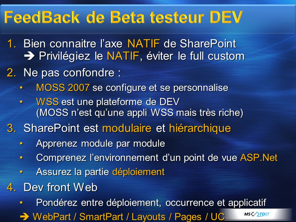 FeedBack de Beta testeur DEV