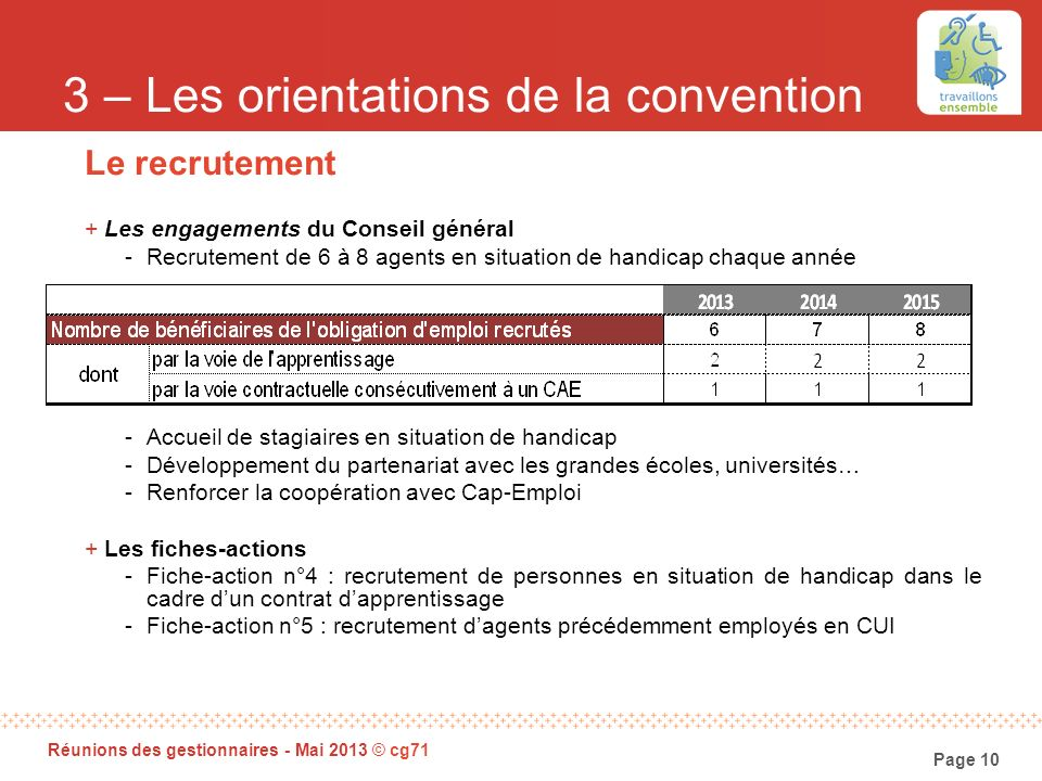 3 – Les orientations de la convention