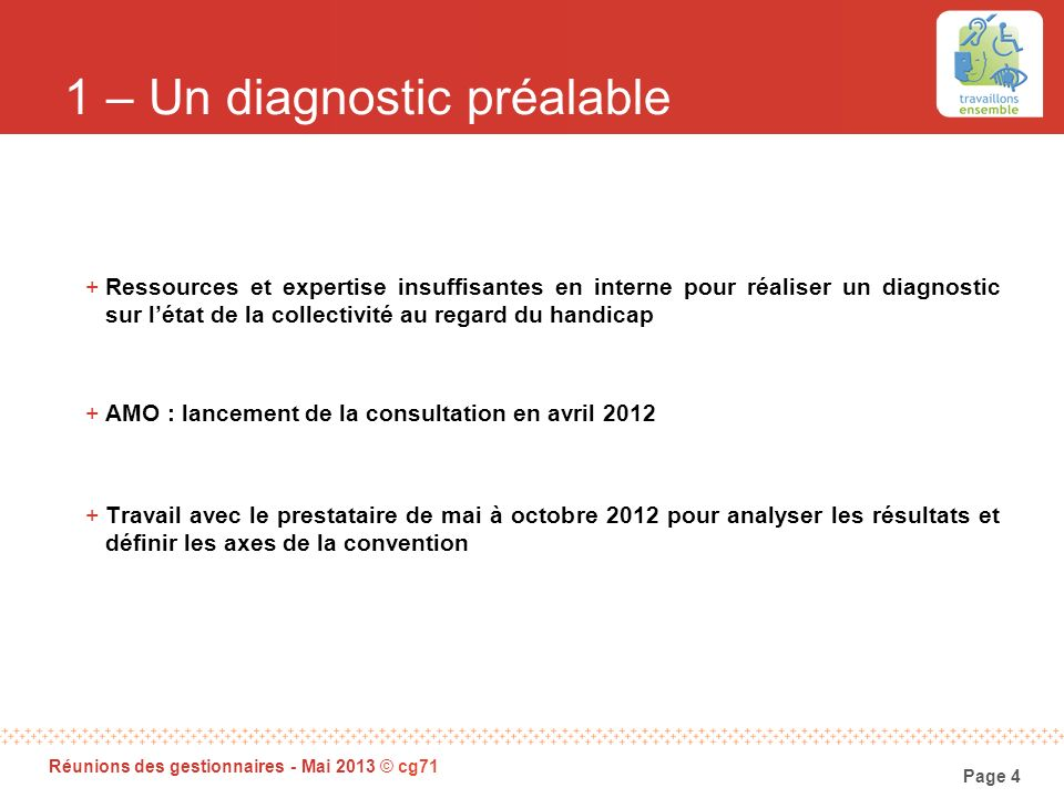 1 – Un diagnostic préalable