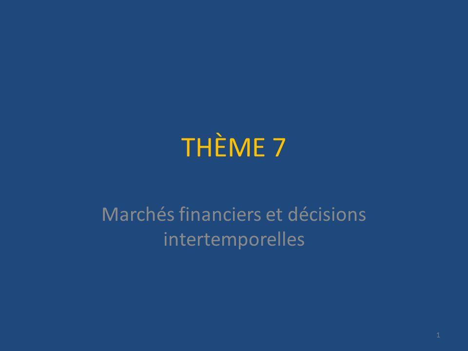 Marchés financiers et décisions intertemporelles