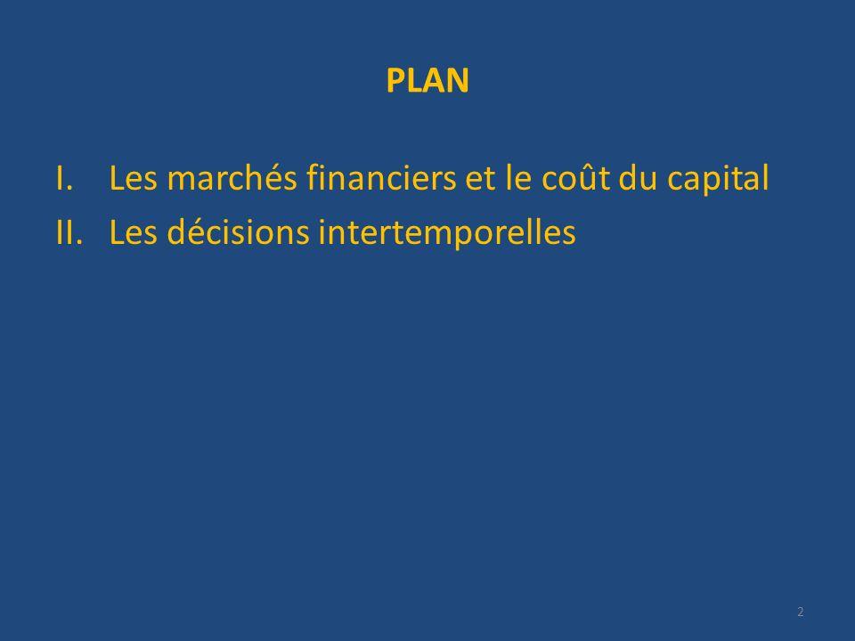 PLAN Les marchés financiers et le coût du capital Les décisions intertemporelles