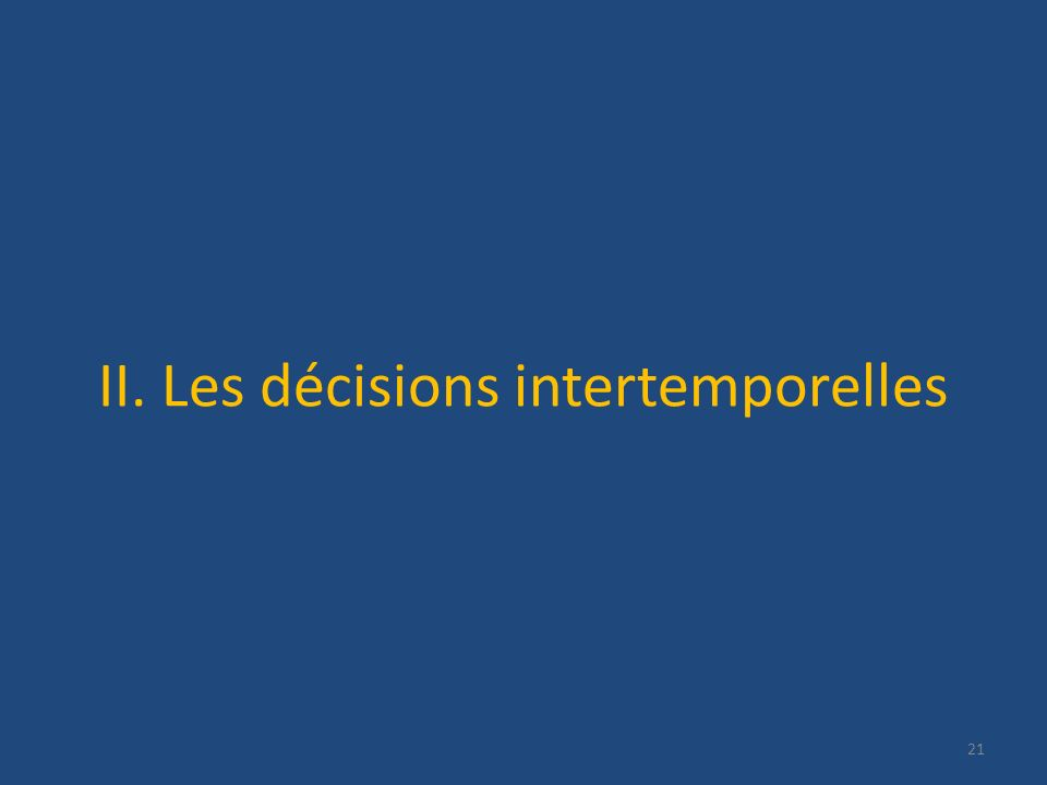 II. Les décisions intertemporelles