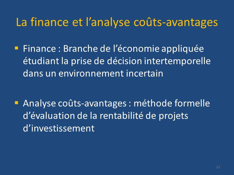La finance et l'analyse coûts-avantages