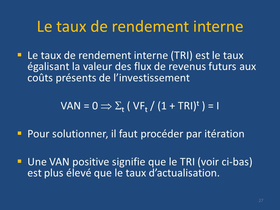 Le taux de rendement interne