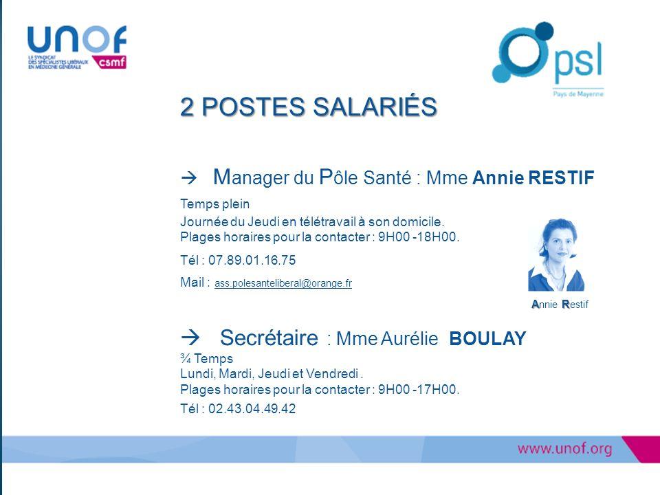 2 POSTES SALARIÉS  Secrétaire : Mme Aurélie BOULAY