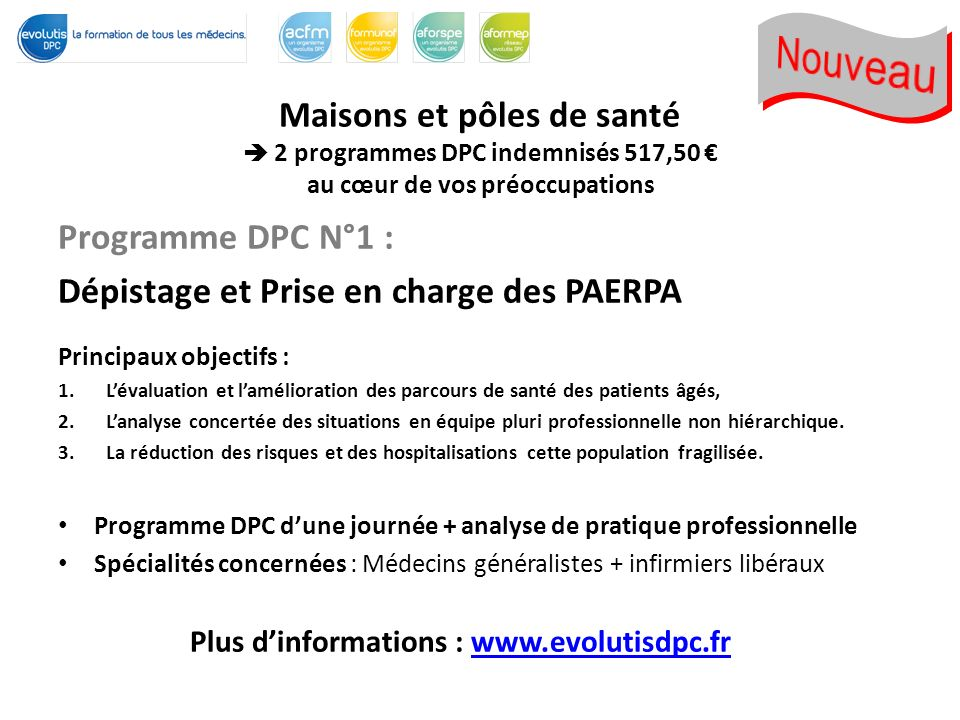 Plus d'informations : www.evolutisdpc.fr