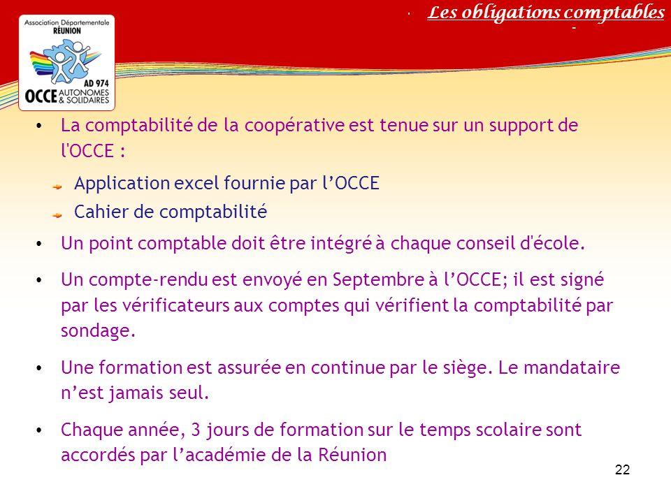 La comptabilité de la coopérative est tenue sur un support de l OCCE :
