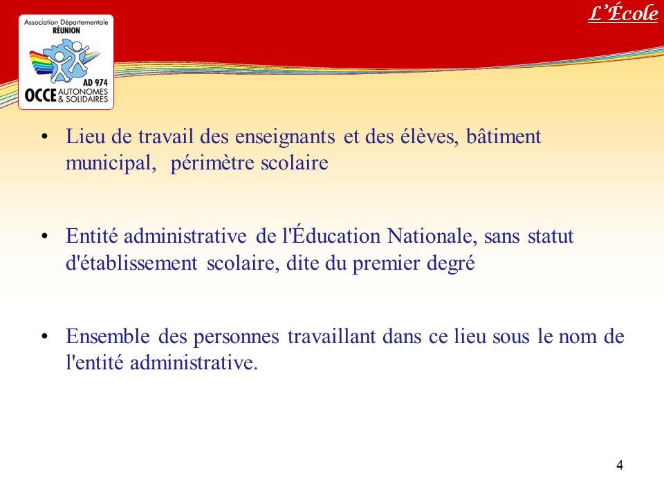 L'École Lieu de travail des enseignants et des élèves, bâtiment municipal, périmètre scolaire.