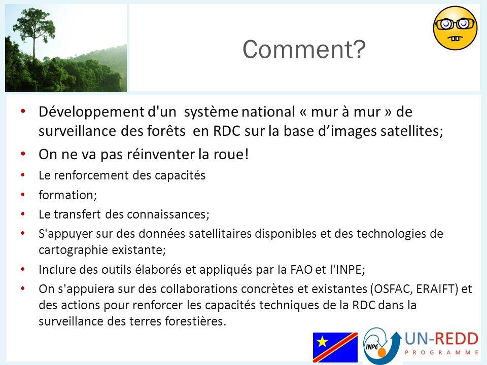 Comment Développement d un système national « mur à mur » de surveillance des forêts en RDC sur la base d'images satellites;
