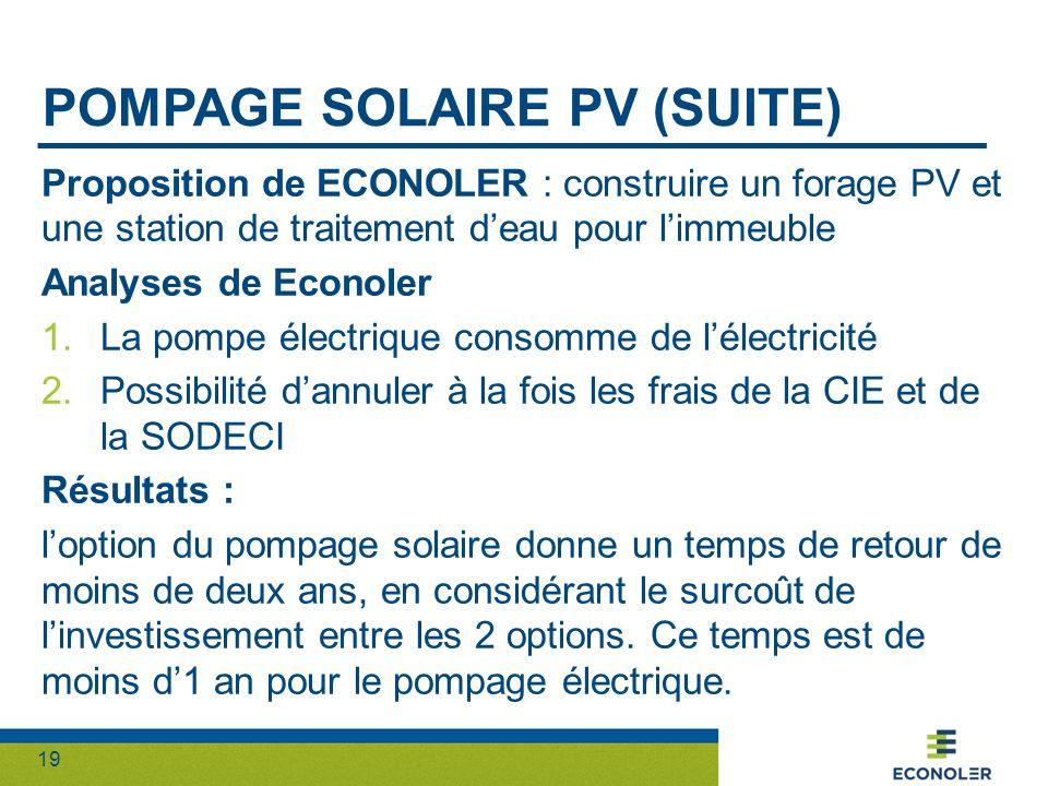 Pompage solaire pv (suite)