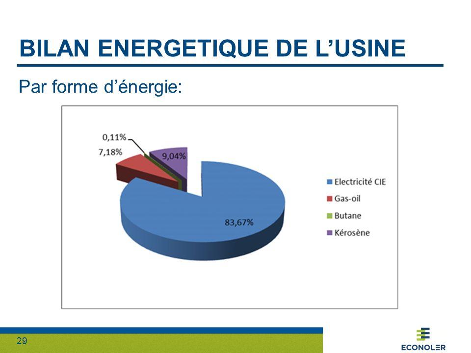 Bilan energetique DE L'usine