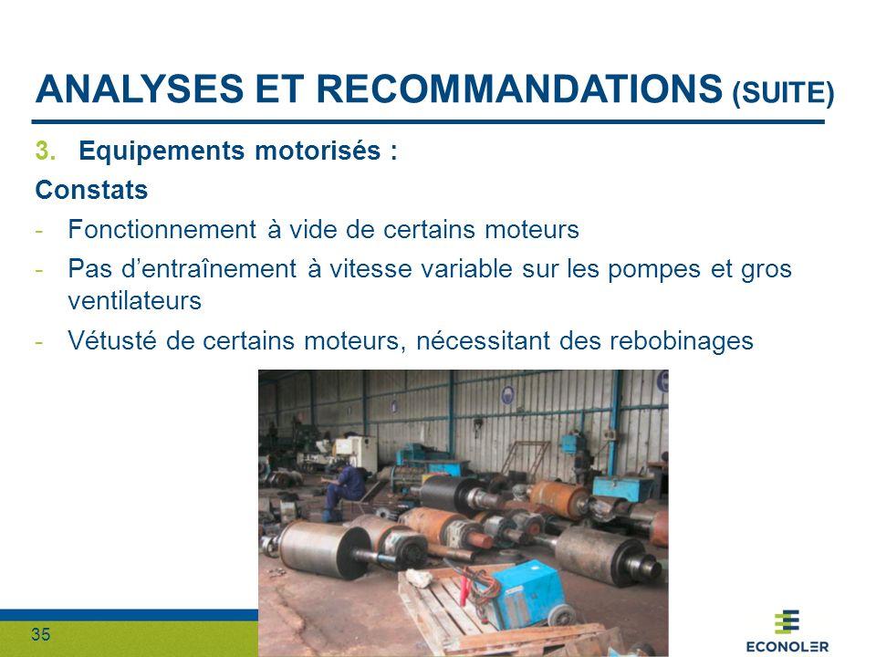 Analyses et recommandations (suite)