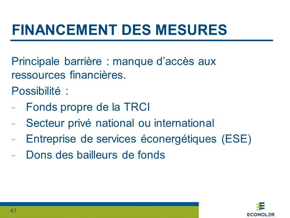 Financement des mesures