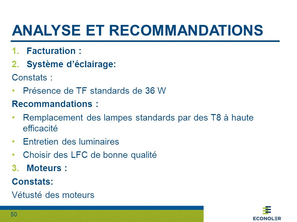 Analyse et recommandations