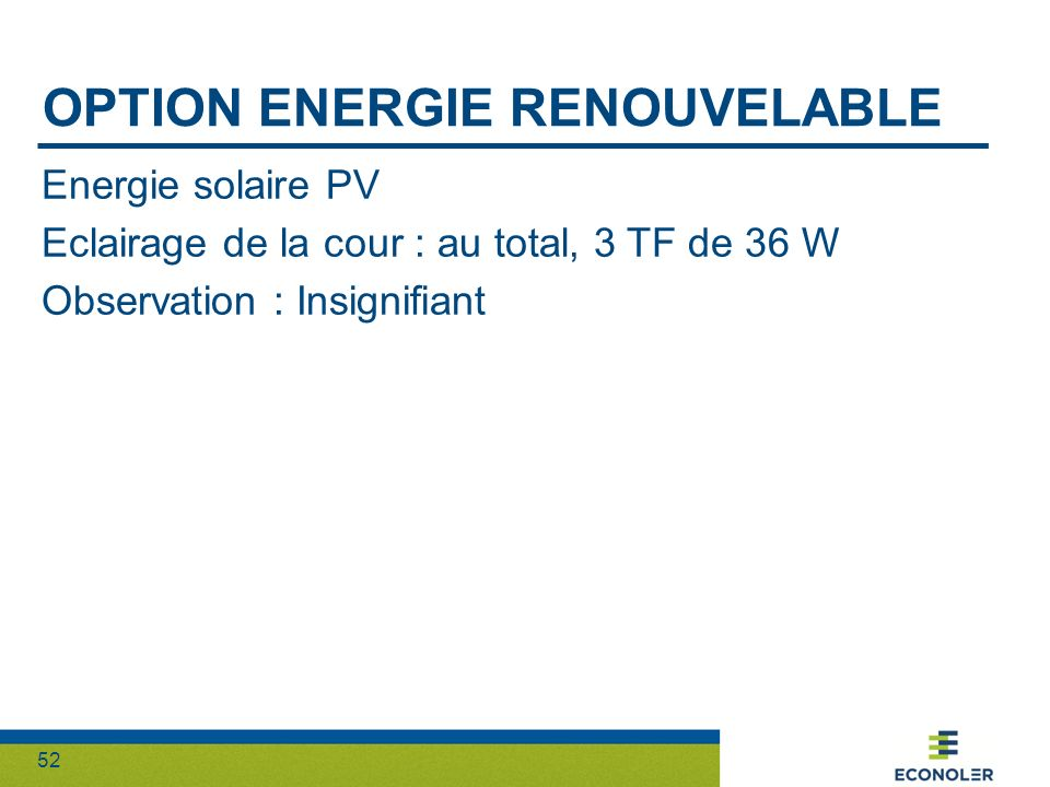 Option energie renouvelable