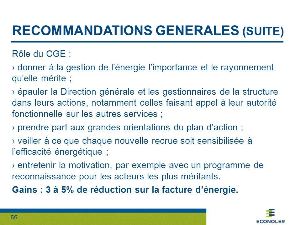 Recommandations generales (suite)